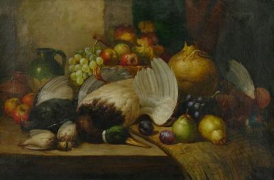 William Duffield Fruit Game Still Life Oil Painting by William Duffield British 1816 1863