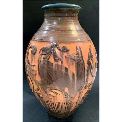 William E rnst Hentschel Prancing Deer by William Hentschel for Rookwood Pottery USA ceramic