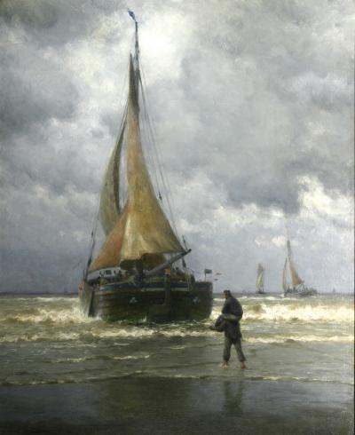 William Edward Norton On the Coast of Holland Fishing Boat Ready for Sea