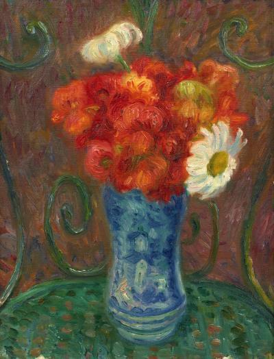 William Glackens Flowers on a Garden Chair