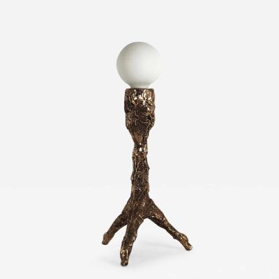 William Guillon Unique Bronze Sculptural Table Lamp Signed by William Guillon