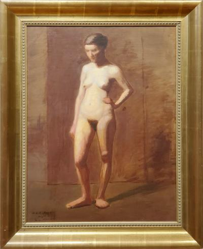 William H C Sheppard Academic Nude Oil Painting Signed by William H C Sheppard and Dated 1890 91