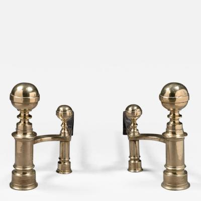 William Hunneman Pair of Ball Top Andirons Made by William Hunneman