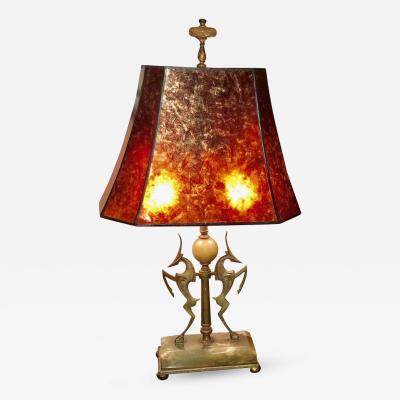 William Hunt Diederich Art Deco Wilhelm Hunt Diederich Bronze Onyx Gazelle Table Lamp