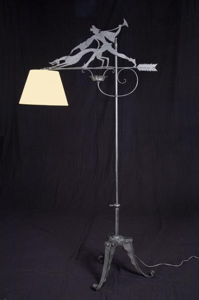William Hunt Diederich HUNTER AND DOG FLOOR LAMP