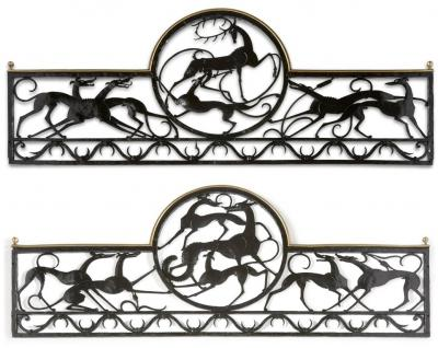 William Hunt Diederich Stag and Hound Fox and Two Hounds Balcony Railings
