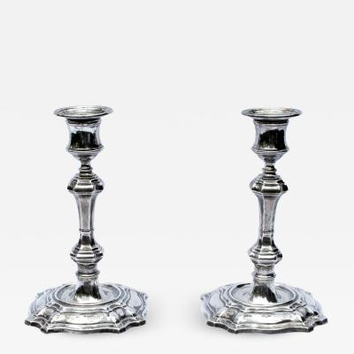 William Hutton A Pair of Silver George II Style Candlesticks