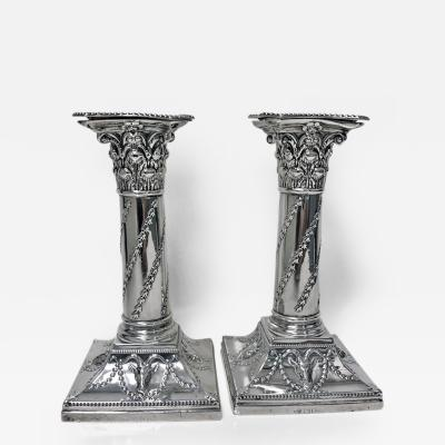 William Hutton Pair Antique Sterling Silver Candlesticks London 1903 William Hutton