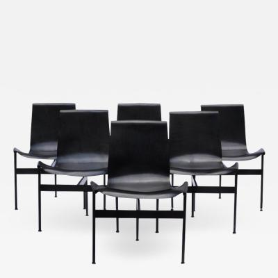 William Katavolos A Set of Six Black T Chairs for Laverne International