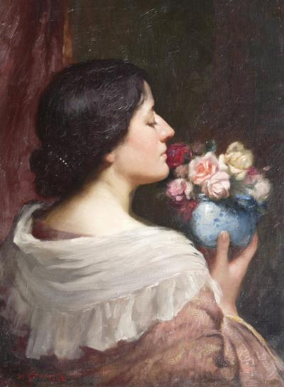 William Kay Blacklock Portrait of an Elegant Lady with a Bowl of Roses
