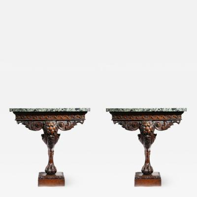 William Kent Fabulous Pair of Georgian Period Carved Mahogany Console Side Tables
