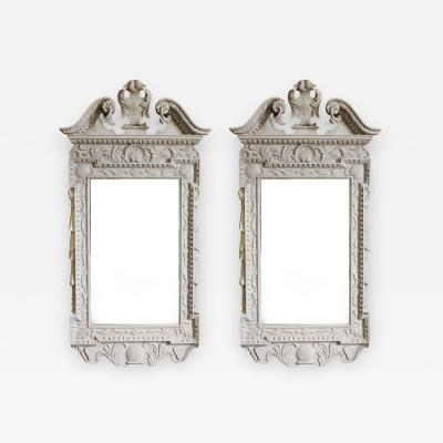 William Kent Pair of 18th Century George II Grey Painted Tablet Mirrors in the Manner of Kent