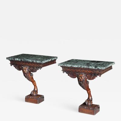 William Kent Pair of Georgian Kentian Period Carved Mahogany Console Tables