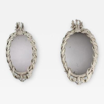 William Kent Rare Pair of Early Georgian Kentian Period White Decorated Mirrors