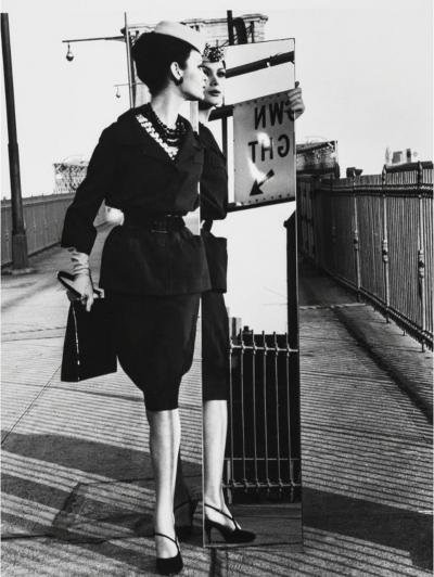 William Klein Mirrors Brooklyn Bridge Vogue New York City New York 1962