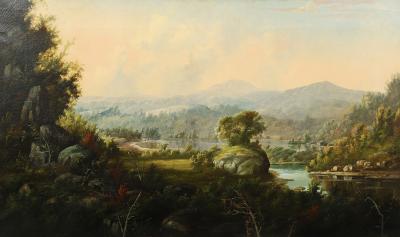 William Louis Sonntag Sr Lakeside Landscape in Mountain Views