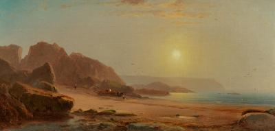 William M Hart Coastal Scene with Figures