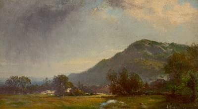 William M Hart Mountain Scene with Gray Clouds 1862