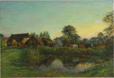 William Mark Fisher R A Bringing in the Cattle 1896 Oil Painting by William Mark Fisher R A