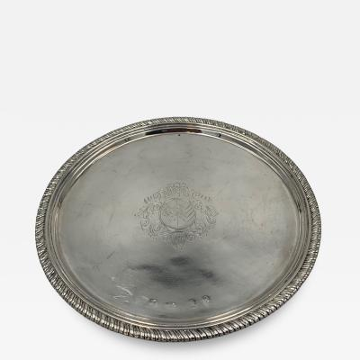 William Mary Sterling Salver with Cut Card Decoration
