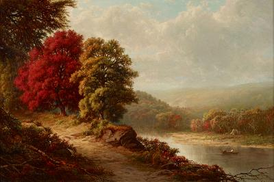 William Mason Brown AUTUMN LANDSCAPE WITH FIGURES ON THE RIVER