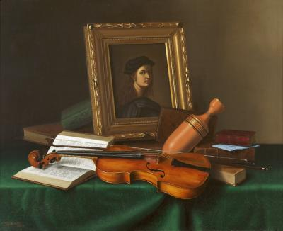 William Michael Harnett Still Life with Portrait by Raphael