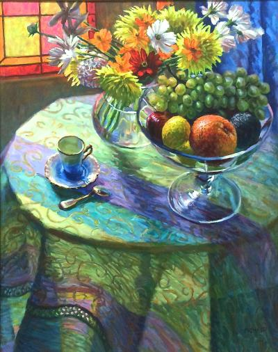 William Michaut Still Life With Fruit And Flowers