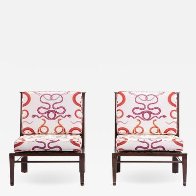 William Pahlmann WILLIAM PAHLMANN THEBES CHAIRS WITH SNAKE FABRIC CIRCA 1964