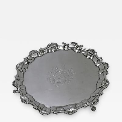 William Robert Peaston Georgian Silver Salver London 1757 William Robert Peaston