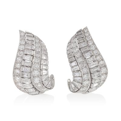 William Ruser Ruser Diamond Platinum and Gold Earrings