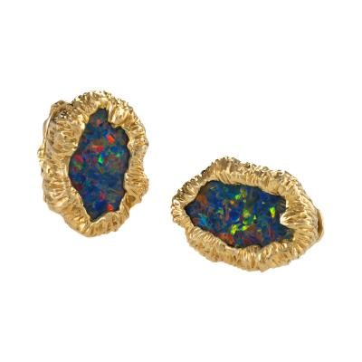 William Ruser Ruser Mid 20th Century Black Opal and Gold Cuff Links