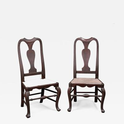 William Savery Early Pair of Maple Rush Seat Side Chairs