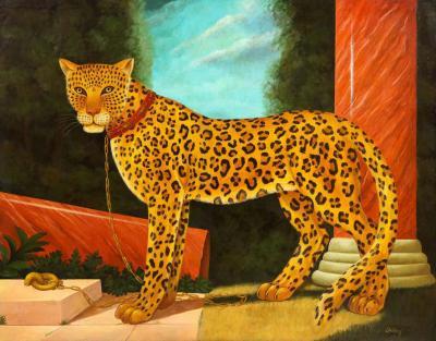 William Skilling William Skilling American British 1862 1964 A Standing Leopard Oil on Canvas