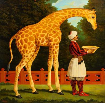 William Skilling William Skilling American British 1862 1964 Giraffe Attendant Oil Painting