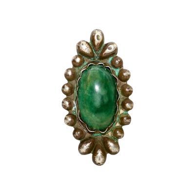 William Spratling Rare William Spratling Brooch Sterling Silver with Mexican Cabochon Jade
