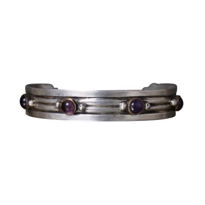 William Spratling William Spratling Cuff Bracelet Sterling Sterling Brass Amethyst 1940s Mexico