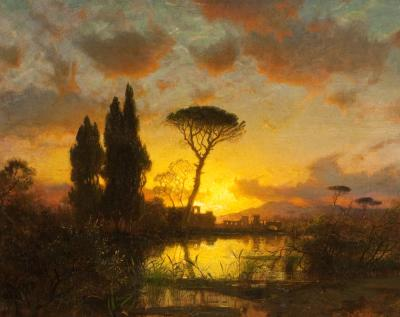 William Stanley Haseltine Italian Landscape at Sunset