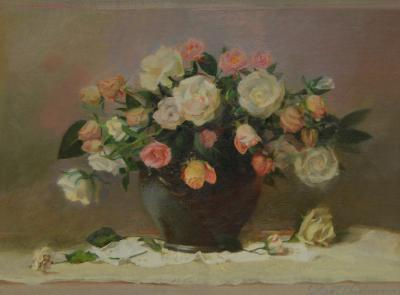 William T Chambers Rose Assortment on Lace