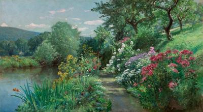 William Trost Richards Fidelia Bridges s Garden 1902