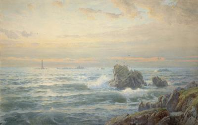 William Trost Richards Rocky Coast with Lighthouse