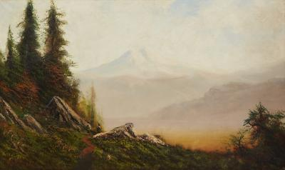 William Weaver Armstrong Two Native American Indians on the Path to Mount Shasta California