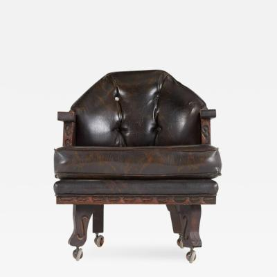 William Westenhaver William Westenhaver for Witco Ornately Carved Tiki Club Chair circa 1950