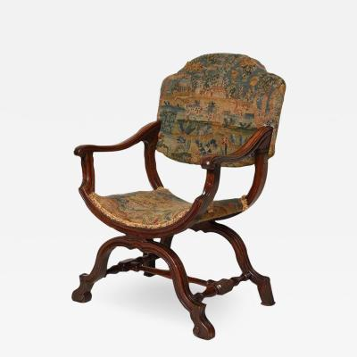 William and Mary Period Walnut X Frame Chair