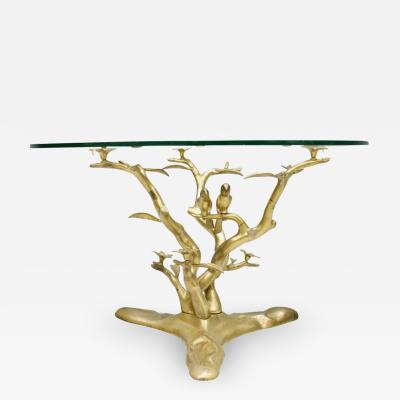 Willy Daro Coffee Table in Brass and Glass Belgium 1970s