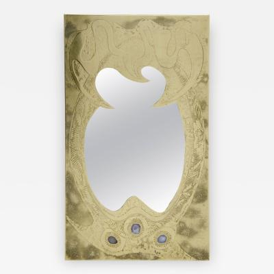 Willy Daro Etched brass mirror by Willy Daro
