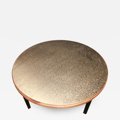 Willy Daro Etched steel circular coffee table