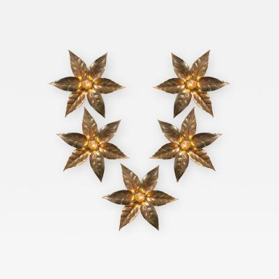 Willy Daro One of Five of Willy Daro Style Brass Flowers Wall Lights