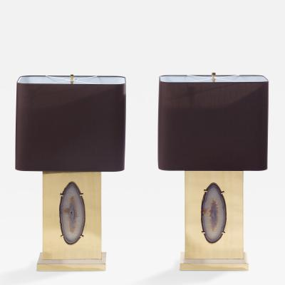 Willy Daro Pair of Brass Lamps with Agate Inset by Willy Daro