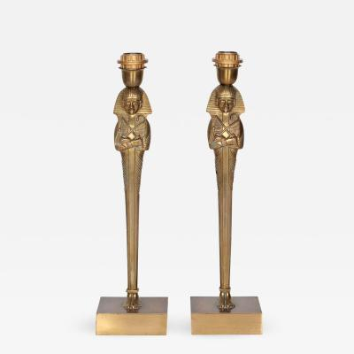 Willy Daro Pair of Bronze Egyptian lamps by Willy Daro