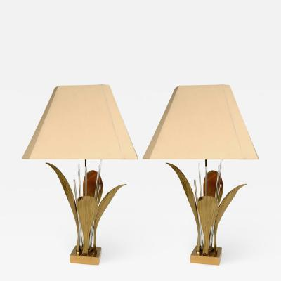 Willy Daro Pair of Rare Table Lamps leaf bronze by Willy Daro